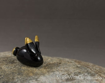 Little Bunny - Black And Gold - Miniature Polymer Clay Animal Terrarium Figurine - Hand Sculpted