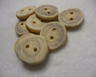 Deer Antler Hand Carved and Sanded Shirt Buttons  8 Pieces