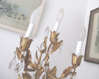 Vintage Tole Lamp * Girandole * Spelter Cherub * Chandelier Prisms * Shabby French Cottage * Paris Apt