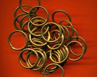 Vintage 36 LARGED Aged Brass 18.25mm, THICK 13 Gauge Jump Rings CR4
