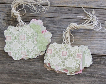 Handmade Paper Vintage Style Tags, Double Sided Tags, Gift Tag