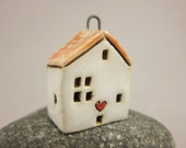 Love Lives Here...Stoneware Pendant / Necklace