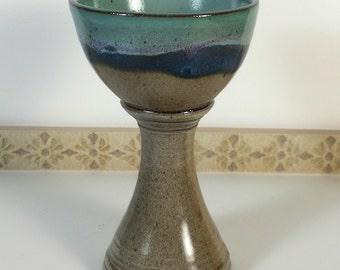 Handmade Goblet, Chalice, Ocean landscape, Unique gift, wine glass, wine goblet, tumbler, beaker, water glass, handmade pottery