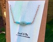 Amazonite on Amazonite Minimalist Copper Stand Choker || Amazonite Rose Gold Necklace || Rough Gemstone Jewelry || Crystals