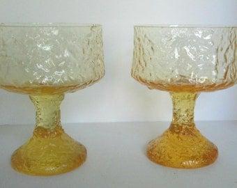 2 Lenox Impromptu Yellow Glass Sherbets Footed Dish Candleholder