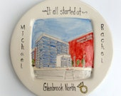 Personalized engagement gift it all started custom portrait dish ceramic plate from your photo by Cathie Carlson