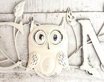 Indoor Outdoor Metal Welcome Sign, Garden Sign, Home and Garden, Above Door Decor, Owl Home Decor