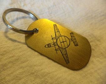 E-2 Hawkeye Etched Brass Keychain