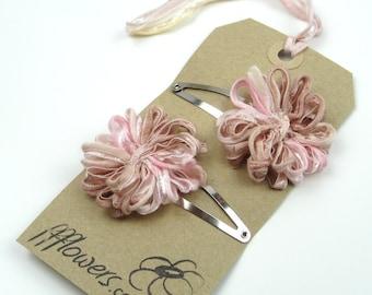 Flower Hair Clips, old rose pink, pale pink, vintage pink