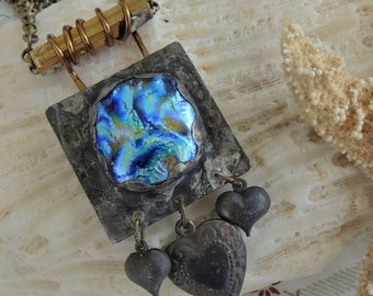 Iridescent Soldered Glass And Copper Necklace