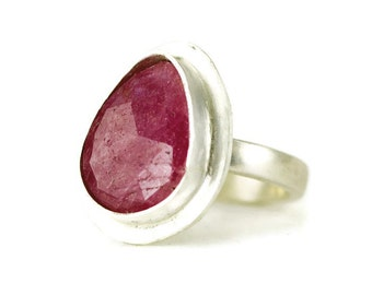 Rose Cut Pink Sapphire Ring set in Sterling - Choose Your Stone and Sterling Ring Band
