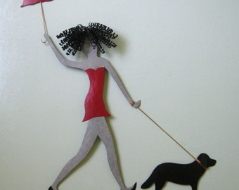 Metal wall art Lady Walking Dog wall decor - upcycled metal wall sculpture poodles dachshunds chihuahua black lab
