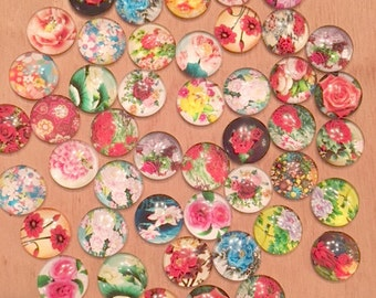 50 Pack 16mm Flowers Glass Circle Cabochons 16mm  (FLO-16-50-1)
