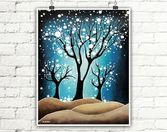 Night Sky Print, Cerulean Blue Brown Tree Print, Forest Art Wall Decor, Landscape Print Home Decor