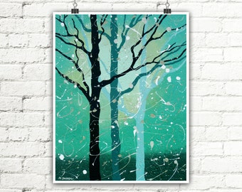 Abstract Tree Print Living Room Art Turquoise Wall Decor Contemporary Modern Woodland