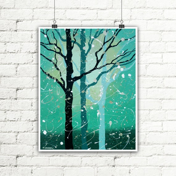 Abstract Tree Print, Living Room Art, Turquoise Wall Decor, Contemporary Modern Art Woodland Print, Forest Print