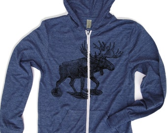 Unisex MOOSE (in Snow Shoes) Triblend Zip Lightweight Hoody -  xs s m l xl (+ Colors)