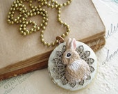 Bunny Rabbit Locket Necklace. Rabbit Necklace. Hand Painted Round Brass Locket. Rustic Wedding. Sweet & Shabby Vintage Woodland Necklace.