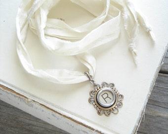 Typewriter Key Necklace. Letter R Necklace. Vintage Typewriter Key Jewelry. Long Boho Sari Silk Ribbon Necklace. Upcycled Eco Friendly Gift.