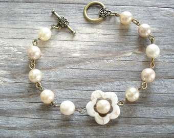 Vintage Pearl Bracelet. Shabby Bohemian Glass Champagne Pearls & Gemstone Flower Beaded Charm Bracelet. Eco Friendly Gift. PreciousPastimes.