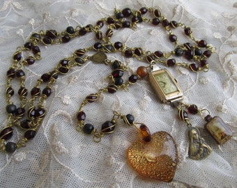 Danusharose VintageBrass Wire wrapped Dark Blood Garnet GlassSt Therese Roses Gold Honey Heart Elgin Watch Face Time to Pray  59 bead Rosary