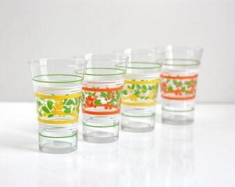 Vintage Libbey Floral Drinking Glasses