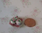 Dollhouse cupcakes, plate of cupcakes, pink rose topped cakes, hand finished, twelfth scale, dollhouse food