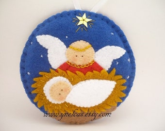 Felt  Christmas Ornament Nativity Scene with baby and angel