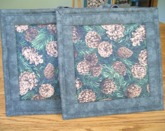 Quilted Pot Holders in a Pinecone on Green Pattern - Set of 2