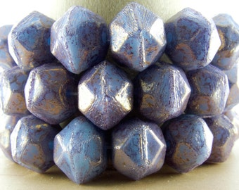 10x9mm Faceted Opaque Blue Violet with Gold Luster Vintage Cut Czech Glass Beads - Qty 15 (BS458)