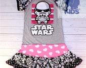 STAR WARS - a dress made out of authentic Star Wars tee -  cool funky recycled upcycled  pieced  size 7/8