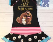 You + me  a dress made out of authentic Secret life of pets tshirt cool funky recycled upcycled  pieced  size 7(other sizes also available )
