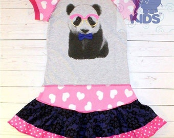 SMART PANDA - a dress made out of authentic tshirt -  cool funky recycled upcycled  pieced  size 8