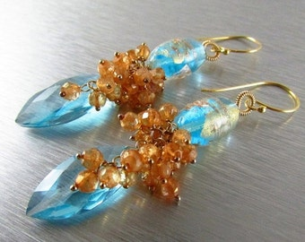 20 % Off Lampwork and Blue Quartz Gemstone Earrings - Cluster Lamp Work and Gold Filled  Earrings