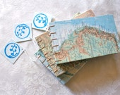 Hand bound, handmade pocket book/journal/sketchbook - Upcycled Maps - Australia, Vancouver BC or Canada/US boarder.