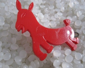 vintage barrette bright red donkey,  democratic symbol