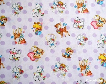 Japanese Fabric - QUILT GATE - Dear Little World - Cute Animals on Lavender - Half Yard (ha160804)