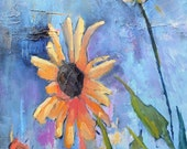 """Sunflower Painting,  Impressionist Flower,  Daily Painting, 14x18"""" Oil , textured, Colorado Road Show"""