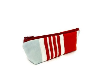Marimekko Pouch, Small Zipper Pouch, Pouch, Fabric Pouch, Coin Purse, Cotton Zipper Pouch, Marimekko Red Stripes