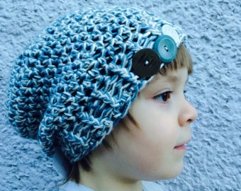 Blue&White Crocheted Bamboo/silk Slouch Hat 47/15
