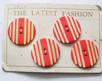 Vintage  Orange and White Striped Button Card