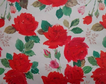 Vintage 1960s Gift Wrap All Occasion Red Rose Print--Vintage Wrapping Paper
