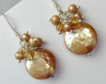 VALENTINES SALE Champagne Coin Pearl Earring Wire Wrap Cluster Pearl Citrine Sterling Fine Silver