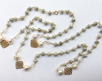 HALF PRICE SALE - Silverite Necklace Long Wire Wrap Rosary Chain Moonstone Gemstone Pearl Gold Vermeil Bohemian Jewelry Layering Necklace