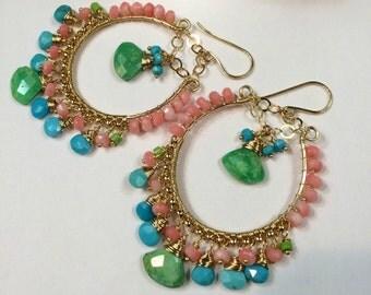 Colorful Hoop Earring Sleeping Beauty Green Turquoise Coral Gold Fill Wire Wrap Luxury Gem Chandelier Earring Handmade Bohemian Boho Chic