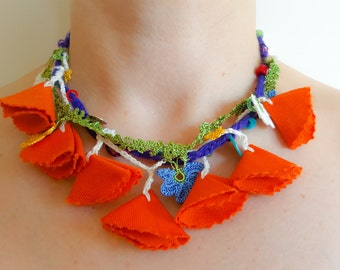 Crochet Necklace , Fabric Necklace with Crochet Flowers, OOAK