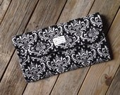 Black Damask Diaper Clutch with Changing Pad - Gender Neutral  - Red Diaper Clutch - Baby Shower Gift - Boy - Girl - Girly - Black and White