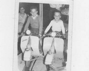 original 1960s photo. of 2 boys on moped ride