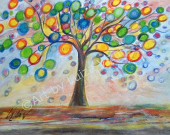 Original Painting Whimsy Lemon Tree Colorful Landscape Art on Canvas by Luiza Vizoli