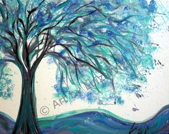 SALE Abstract Modern Painting, Canvas Art, Blue White Painting , Turquoise Tree Painting